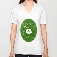 fez V-neck T-shirts featuring Gravity Falls - Grunkle Stan's Fez (Original) by pondlifeforme