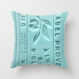 blue french marseille soap Throw Pillow