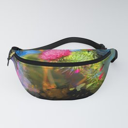 Vibrant painted thistle on black Fanny Pack