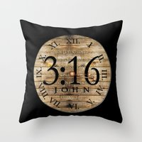 bible verses Throw Pillows featuring LOST VERSES FOUND by Miriam Hahn