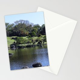 tranqul lake in a Japanese garden Stationery Cards