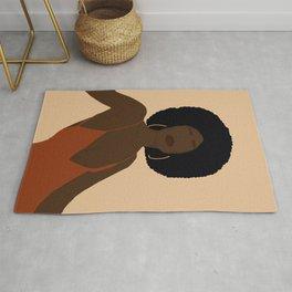 Afro Woman Minimal Art Rug