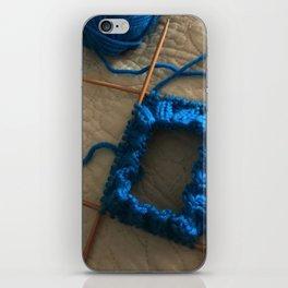 knit, knitting, royal blue, leg warmer, knitting, needles, blue, yarn, blue yarn, quilt, iPhone Skin