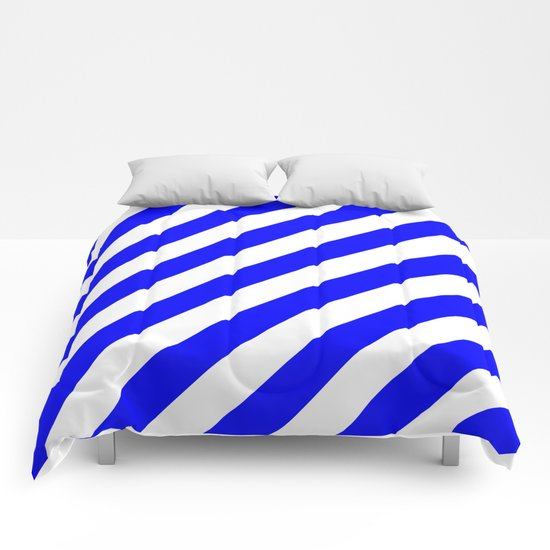 Diagonal Stripes (Blue/White) Comforters