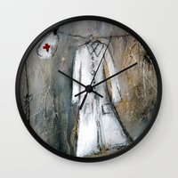 nurse Wall Clocks featuring nurse by woman