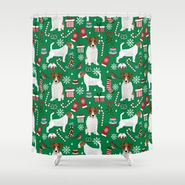 Jack Russell Terrier christmas festive holiday red and green dog lover gifts Shower Curtain
