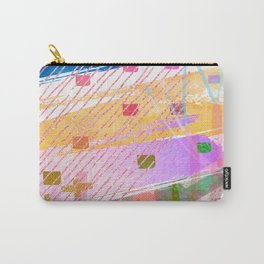 Abstract Mixed Media: Blue, Lilac, Yellow & Green Carry-All Pouch