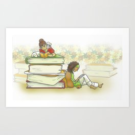 読書の秋 - Fall is for Reading Art Print