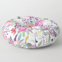 Watercolor pink purple green coral flowers  Floor Pillow