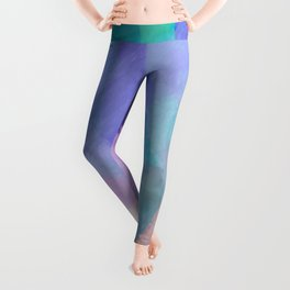 brush painting texture abstract background in blue pink purple Leggings