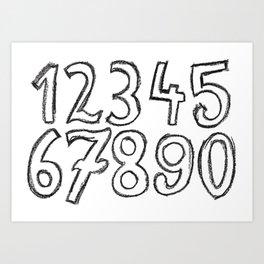 crayon numbers Art Print
