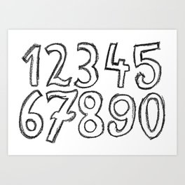 crayon numbers Art Print