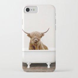 Highland Cow in a Vintage Bathtub (c) iPhone Case