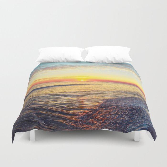 Summer Sunset Ocean Beach - Nature Photography Duvet Cover