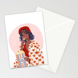 Pop-corn and heart jacket Stationery Cards