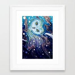 Snow Magic gouache owl painting Framed Art Print
