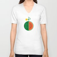 fruit V-neck T-shirts featuring Fruit: Watermelon by Christopher Dina
