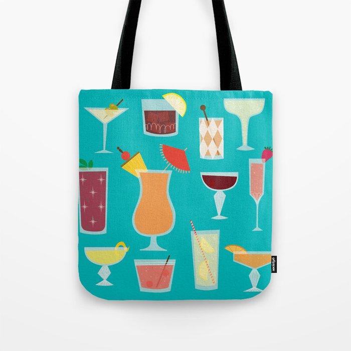 Retro Cocktails Tote Bag