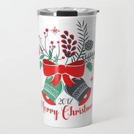 Merry Christmas Typography Christmas bells Bouquet Travel Mug