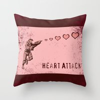 master chief Throw Pillows featuring Heart Attack - Master Chief - Halo by Canis Picta