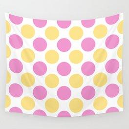 Yellow and pink polka dots Wall Tapestry