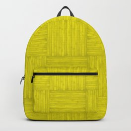 Yellow Faux Bois Wood Pattern Backpack
