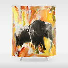 African Elephant - Happy Trails Shower Curtain