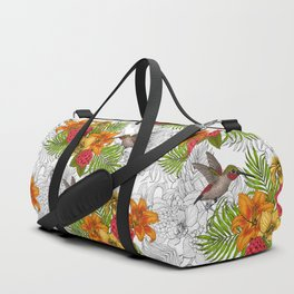 Hummingbirds and tropical bouquet Duffle Bag