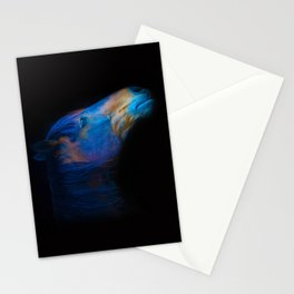His Quiet Place II - Black Thoroughbred Percheron Stationery Cards