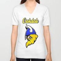 vikings V-neck T-shirts featuring Oakdale Vikings by Kuma