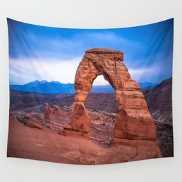 Delicate - Delicate Arch Glows on Rainy Day in Utah Desert Wall Tapestry