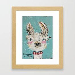 llama art, kindness matters, childs wall art Framed Art Print