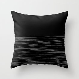 Hand Striped black and white Throw Pillow