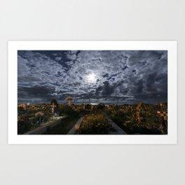 Moonlight Graveyard Art Print