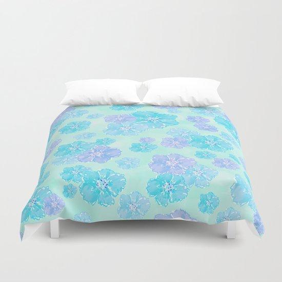 Blossoms Aqua Blue Mint Duvet Cover