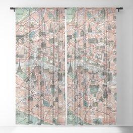 Vintage map of Paris Sheer Curtain