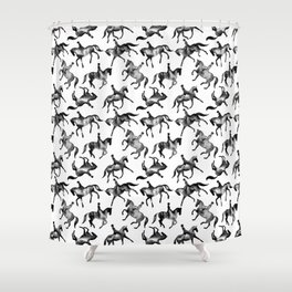 Dressage Horse Silhouettes Shower Curtain