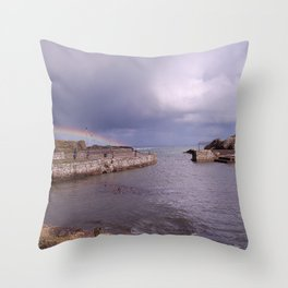 Rainbow Over Ballintoy Harbour, County Antrim, Northern Ireland Throw Pillow