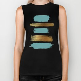 Brush Strokes (Teal/Gold) Biker Tank