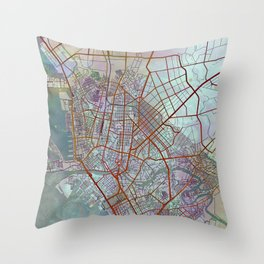 Manila Philippines Watercolor Street Map Urban Throw Pillow