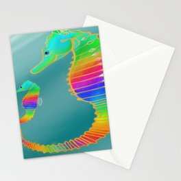 Gemmed Rainbow SeaHorse Stationery Cards
