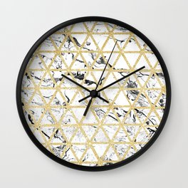 Stylish white marble faux gold glitter triangles pattern Wall Clock