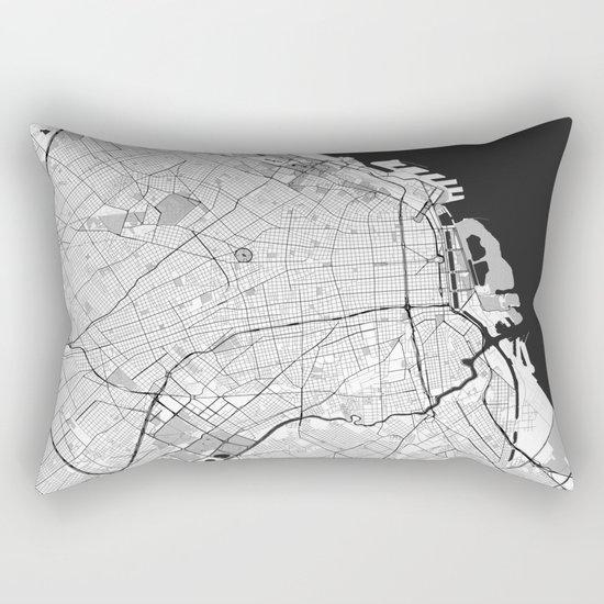 Buenos Aires City Map Gray Rectangular Pillow