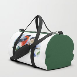 Bullfinches in winter time. Christmas Watercolor Art Duffle Bag
