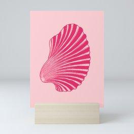 Scallop Shell Block Print, Fuchsia and Pale Pink Mini Art Print