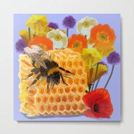 Honeycomb Poppies Metal Print