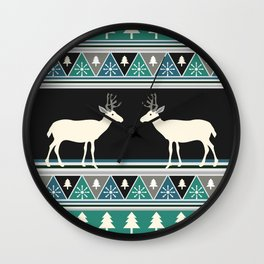 Christmas pattern with deer Wall Clock