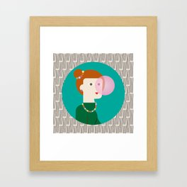 The girl and the bubble gum Framed Art Print
