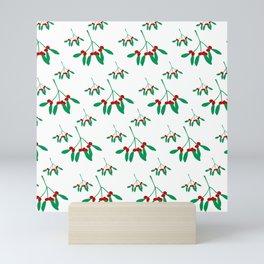 Mistletoe in White & Green 1 Mini Art Print