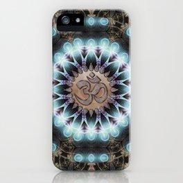 Om Shanti Fractal Geometry [ earthy aqua remix ] iPhone Case